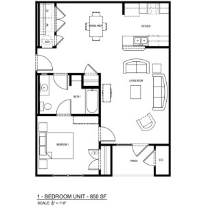 1 Bedroom/1 Bathroom Apartment
