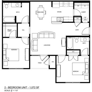 2 Bedroom/2 Bathroom Apartment