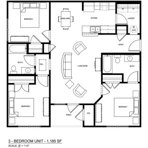 3 Bedroom/3 Bathroom Apartment